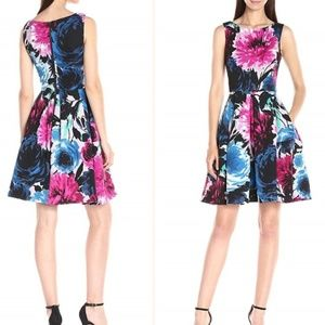 Mixed Bouquet Floral Fit and Flare Scuba Dress - 6
